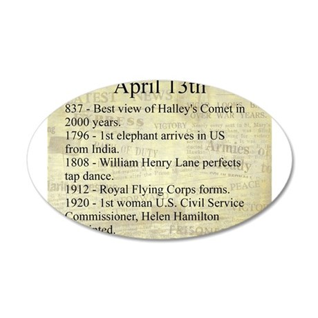 April 13th 20x12 Oval Wall Decal