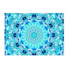 Aqua Lace Abstract 5'x7'Area Rug
