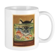Cat, Fish, Vintage Poster Mugs