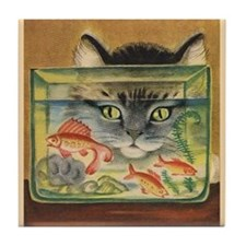 Cat, Fish, Vintage Poster Tile Coaster