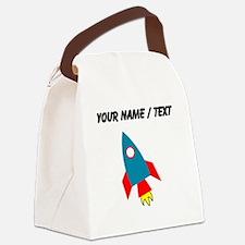 Custom Cartoon Rocket Ship Canvas Lunch Bag