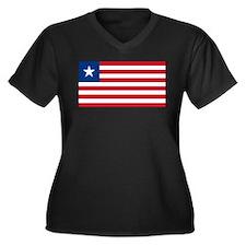 Liberian flag Women's Plus Size V-Neck Dark T-Shir
