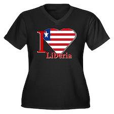 I love Liberia Women's Plus Size V-Neck Dark T-Shi