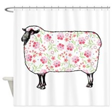 Floral Sheep Shower Curtain