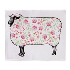 Floral Sheep Throw Blanket