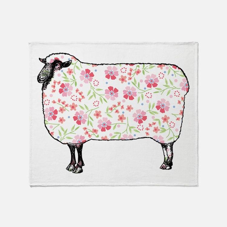 Floral Sheep Throw Blanket