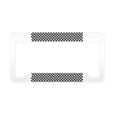 Black and White Checkerboard License Plate Holder