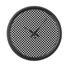 Black and White Checkerboard Large Wall Clock