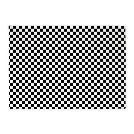 Black and white checkerboard 5 39 x7 39 area rug by thetestshop - Checkerboard area rug ...