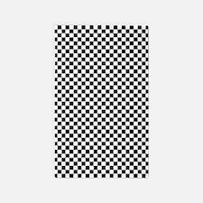 Black and White Checkerboard 3'x5' Area Rug