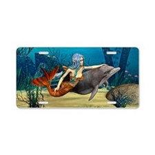 Mermaid and Dolphin Aluminum License Plate