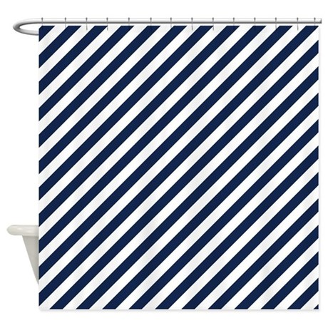 navy blue and white striped shower curtain by thetestshop