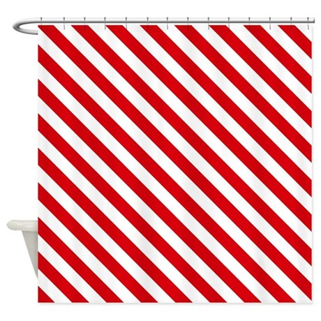 Red And White Striped Shower Curtain By Thetestshop