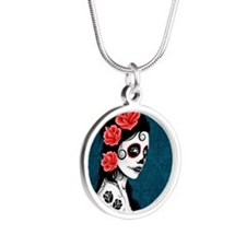 Day of the Dead Girl Blue Necklaces