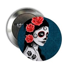 """Day of the Dead Girl Blue 2.25"""" Button"""