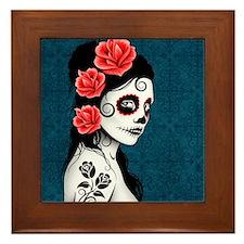 Day of the Dead Girl Blue Framed Tile
