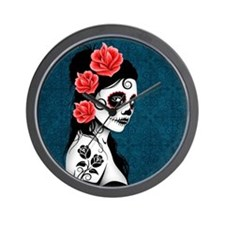 Day of the Dead Girl Blue Wall Clock