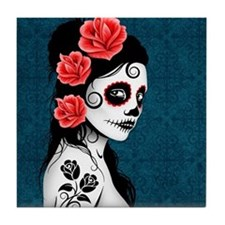 Day of the Dead Girl Blue Tile Coaster
