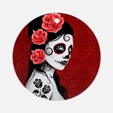 Day of the Dead Girl Deep Red Ornament (Round)