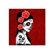Day of the Dead Girl Deep Red Sticker