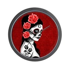 Day of the Dead Girl Deep Red Wall Clock