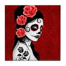 Day of the Dead Girl Deep Red Tile Coaster