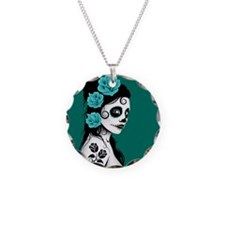 Day of the Dead Girl Teal Blue Necklace