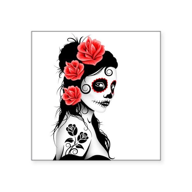Day of the Dead Girl White Sticker by jeffbartels
