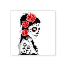 Day of the Dead Girl White Sticker