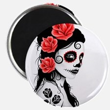 Day of the Dead Girl White Magnets