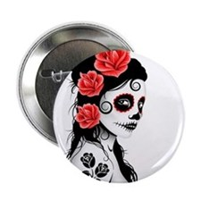 "Day of the Dead Girl White 2.25"" Button"