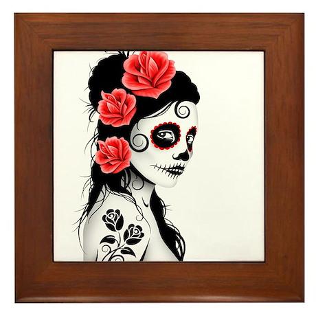 Day of the Dead Girl White Framed Tile