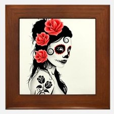 Day of the Dead Girl White Framed Tile