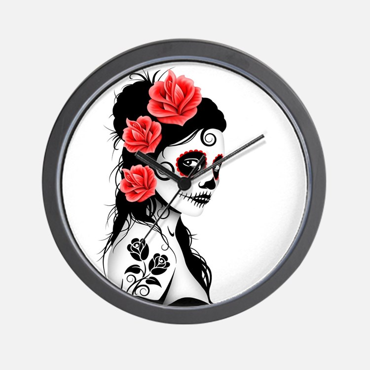 Day of the Dead Girl White Wall Clock