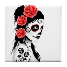 Day of the Dead Girl White Tile Coaster