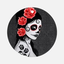 Day of the Dead Girl Gray Ornament (Round)
