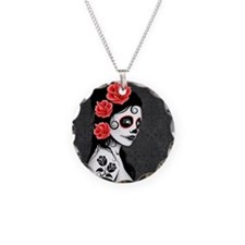 Day of the Dead Girl Gray Necklace