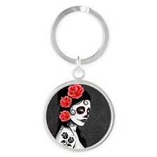 Day of the Dead Girl Gray Keychains