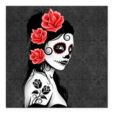 "Day of the Dead Girl Gray Square Car Magnet 3"" x 3"