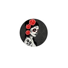 Day of the Dead Girl Gray Mini Button