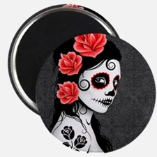 Day of the Dead Girl Gray Magnets