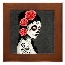 Day of the Dead Girl Gray Framed Tile