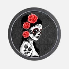 Day of the Dead Girl Gray Wall Clock