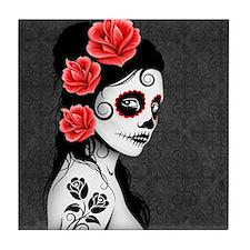 Day of the Dead Girl Gray Tile Coaster