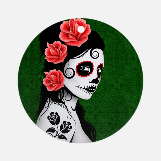 Day of the Dead Girl Green Ornament (Round)