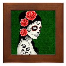 Day of the Dead Girl Green Framed Tile