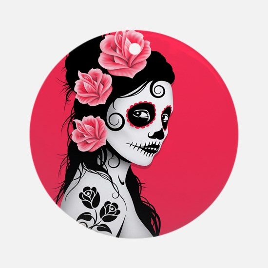 Day of the Dead Girl Pink Ornament (Round)
