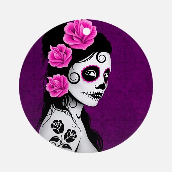 Day of the Dead Girl Purple Ornament (Round)