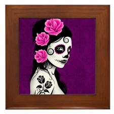 Day of the Dead Girl Purple Framed Tile