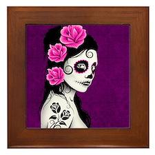 Day of the Dead Girl Purple Framed Tile